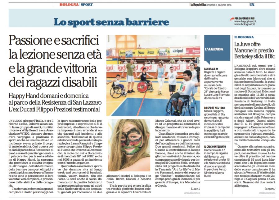 Happy Hand su La Repubblica Bologna 3 giugno 2016